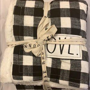 Rae Dunn Plaid black and white love blanket